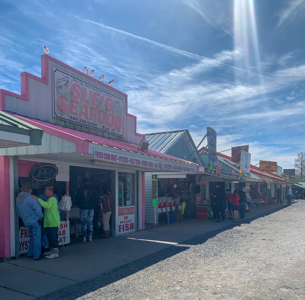 Some of the shops at the Westwego Seafood Market