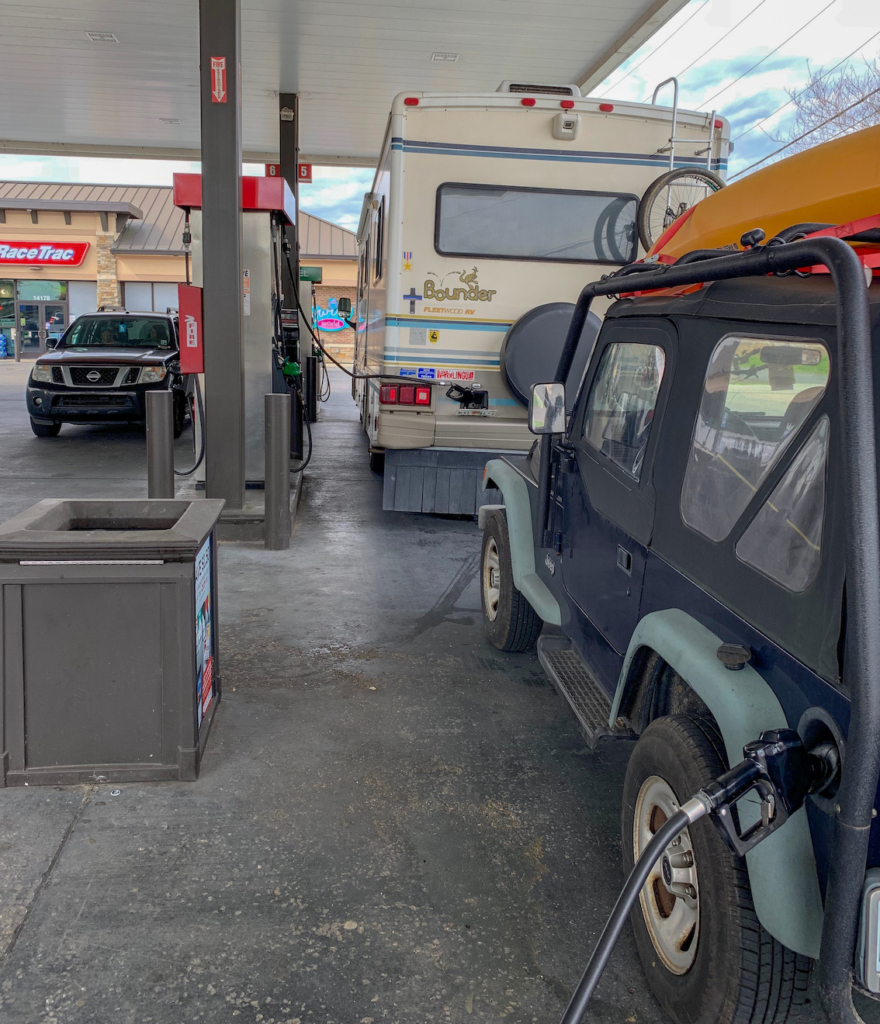 Getting gas in both the RV and the Jeep