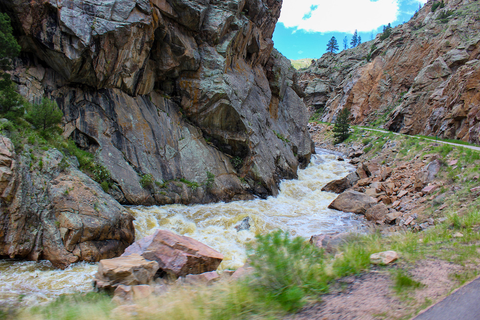 River runs along road in Poudre Canyon