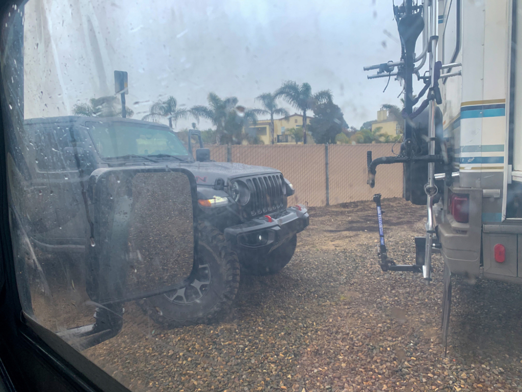 Oceano Random Jeep behind our RV