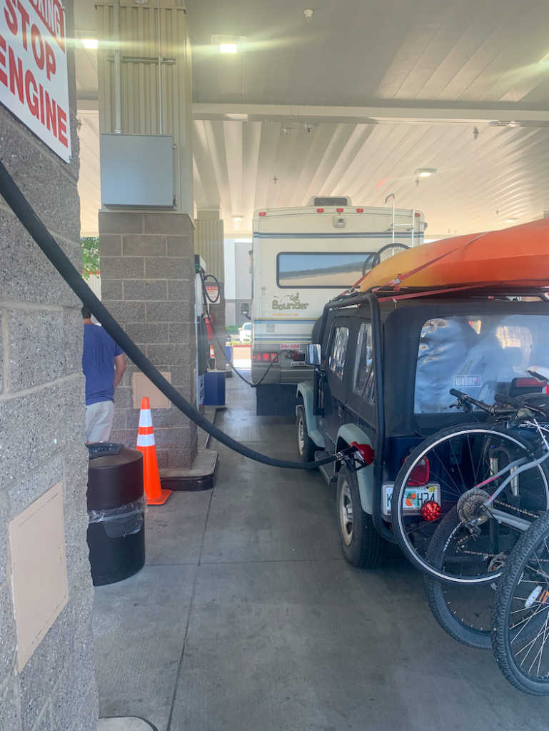 Gas at the same time RV and Jeep