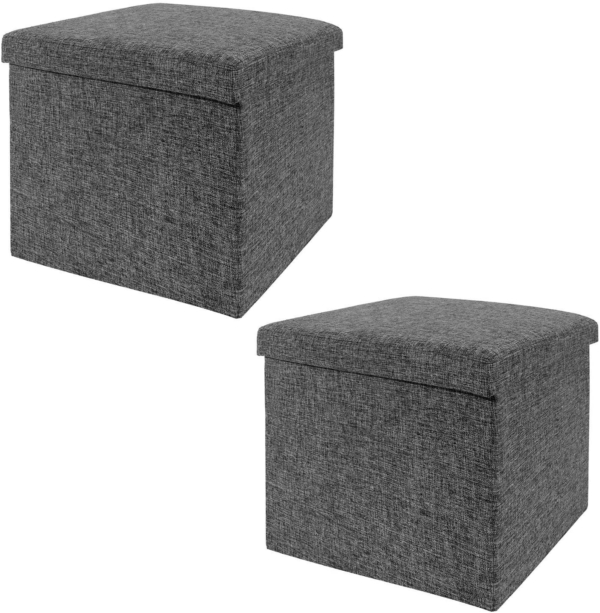 Seville Classics Foldable Storage Ottoman Footrest Toy Box Coffee Table Chest Trunk Seat Stool, 2-Pack, Modern Gray